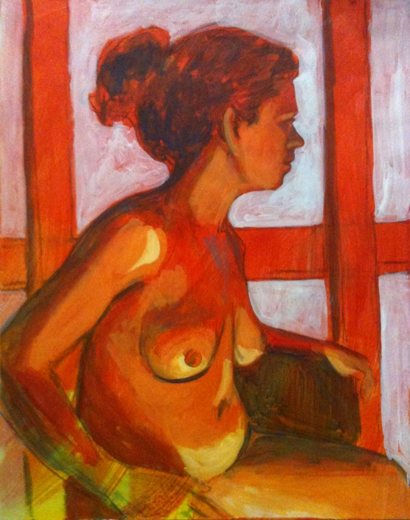 Susan in Glowing Light - original acrylic painting by Rochelle Weiner