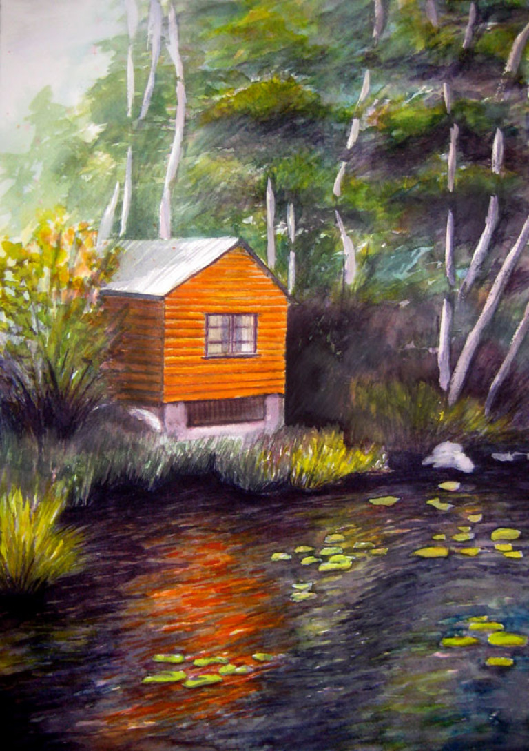 From the Boathouse, watercolor